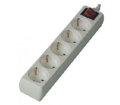 Колодка 5-мест. пластик с заземлением и выключателем 16А General GSB-16-5-G-S-IP20