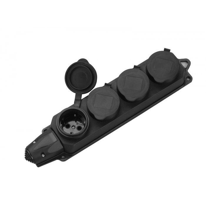 Колодка 4-мест. каучуковая с защит. крышкой IP44 General GSB-16-4-G-IP44