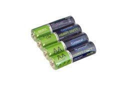 Батарейка солевая LR06 (АА), 1,5В уп.4шт General GBAT-LR6