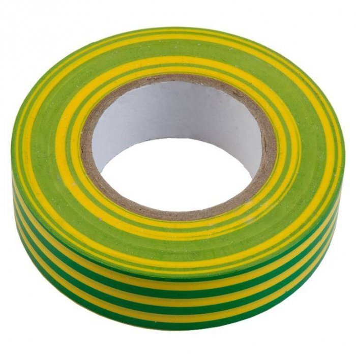 Изолента ПВХ 0.13х15мм, 20метров, желто-зеленая General GIT-13-15-20-YG