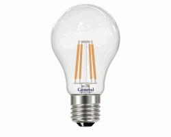 Светодиодная лампа Filament прозрачная Диммируемая А60 13 Вт Нейтральный свет General GLDEN-A60S-DEM-13-230-E27-4500