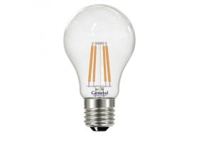 Светодиодная лампа Filament прозрачная А60 8 Вт Теплый свет General GLDEN-A60S-8-230-E27-2700