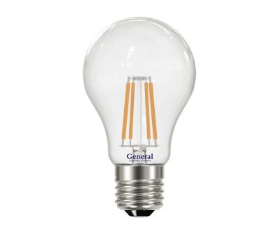 Светодиодная лампа Filament прозрачная А60 10 Вт Холодный свет General GLDEN-A60S-10-230-E27-6500