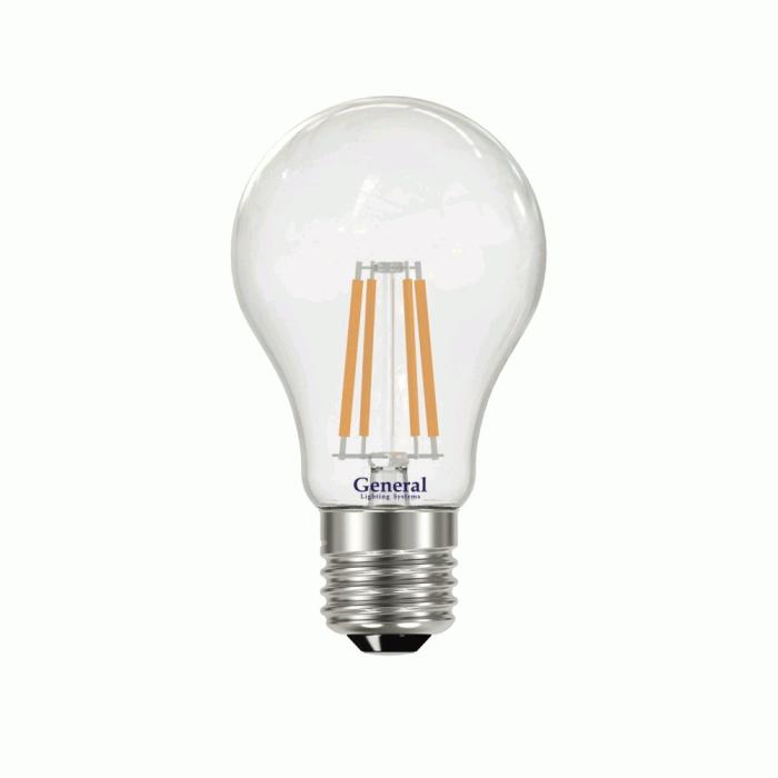 Светодиодная лампа Filament прозрачная А60 13 Вт Теплыйсвет General GLDEN-A60S-13-230-E27-2700