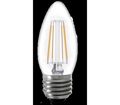 Светодиодная лампа Filament прозрачная CS 6 Вт Холодный свет General GLDEN-CS-6-230-E27-6500