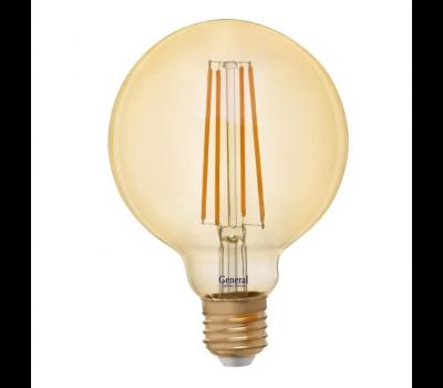 Светодиодная лампа Filament золотая G95 8Вт Теплый свет General GLDEN-G95S-8-230-E27-2700 Золотая