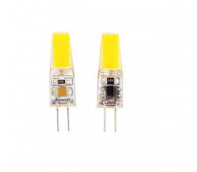 Светодиодная лампа силикон прозрачный COB G4 220V 3 Вт Теплый свет General GLDEN-G4-3-C-220-2700