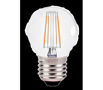 Светодиодная лампа Filament прозрачная G45 6 Вт Теплый свет General GLDEN-G45S-6-230-E27-2700