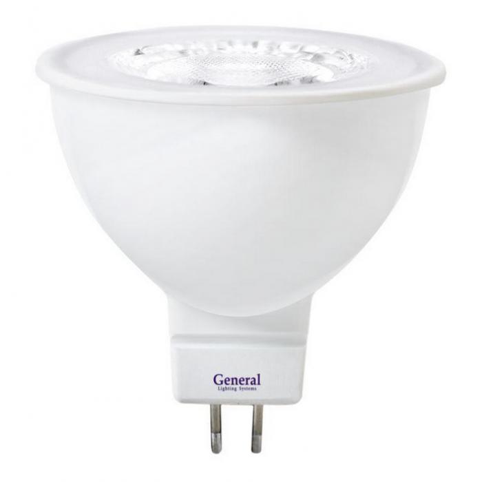 Светодиодная лампа MR16 диффузор 7 Вт Нейтральный свет General GLDEN-MR16-7-230-GU5.3-4500