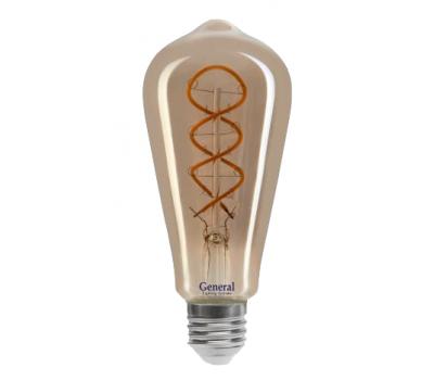 Светодиодная лампа Filament дымчато-серый ST64 6 Вт Теплый свет General GLDEN-ST64DSS-6-230-E27-1800