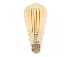 Светодиодная лампа Filament золотая ST64 10 Вт Теплый свет General GLDEN-ST64S-10-230-E27-2700