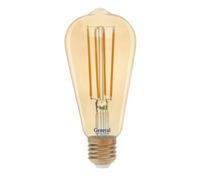 Светодиодная лампа Filament золотая ST64 8 Вт Теплый свет General GLDEN-ST64S-8-230-E27-2700