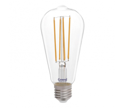 Светодиодная лампа Filament прозрачная ST64 10Вт Теплый свет General GLDEN-ST64S-10-230-E27-2700
