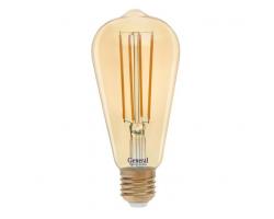 Светодиодная лампа Filament золотая Диммируемая ST64 13 Вт Теплый свет General GLDEN-ST64S-DEM-13-230-E27-2700