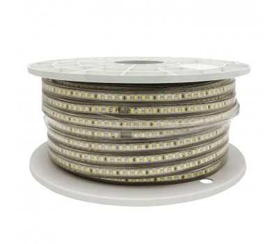 Светодиодная лента 220V 12 Вт Теплый белый General GLS-5730-60-12-220-IP67-3 катушка 50м + шнур питания