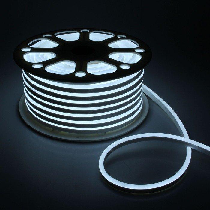 Гибкий Неон 220V 9,6 Вт/метр Холодный белый 8х16 Мм General GLS-2835-120-9.6-220-NL-IP67-6 катушка 50м + шнур питания