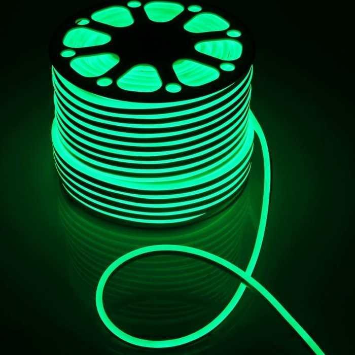 Гибкий Неон 220V 9,6 Вт/метр Зеленый 8х16 Мм General GLS-2835-120-9.6-220-NL-IP67-G катушка 50м + шнур питания