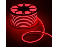 Гибкий Неон 220V 9,6 Вт/метр Красный 8х16 Мм General GLS-2835-120-9.6-220-NL-IP67-R катушка 50м + шнур питания