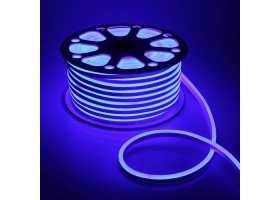 Гибкий Неон 220V 9,6 Вт/метр Синий 8х16 Мм General GLS-2835-120-9.6-220-NL-IP67-B катушка 50м + шнур питания