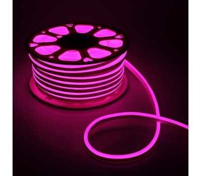 Гибкий Неон 220V 9,6 Вт/метр Розовый 8х16 Мм General GLS-2835-120-9.6-220-NL-IP67-P катушка 50м + шнур питания