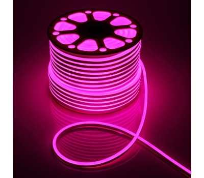 Гибкий Неон 220V 9,6 Вт/метр Розовый 16х16 Мм General GLS-2835-120-9.6-220-BNL-IP67-P катушка 50м + шнур питания