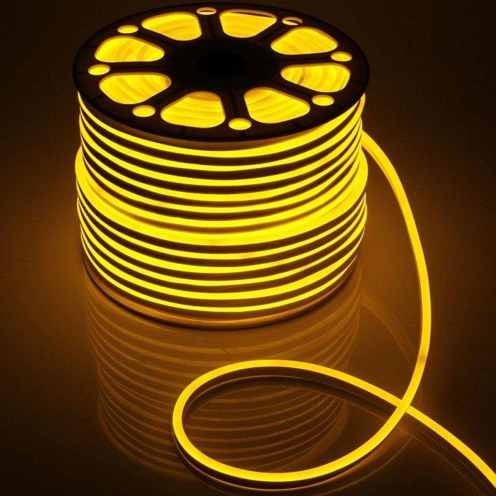 Гибкий Неон 220V 9,6 Вт/метр Желтый 16х16 Мм General GLS-2835-120-9.6-220-BNL-IP67-Y катушка 50м + шнур питания