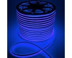 Гибкий Неон 220V 9,6 Вт/метр Синий 16х16 Мм General GLS-2835-120-9.6-220-BNL-IP67-B катушка 50м + шнур питания