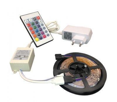 Комплект GLS-5050-30-7.2-12-IP20-PRO-RGB-5-KIT 5м лента + RGB контроллер + ИПН 12В